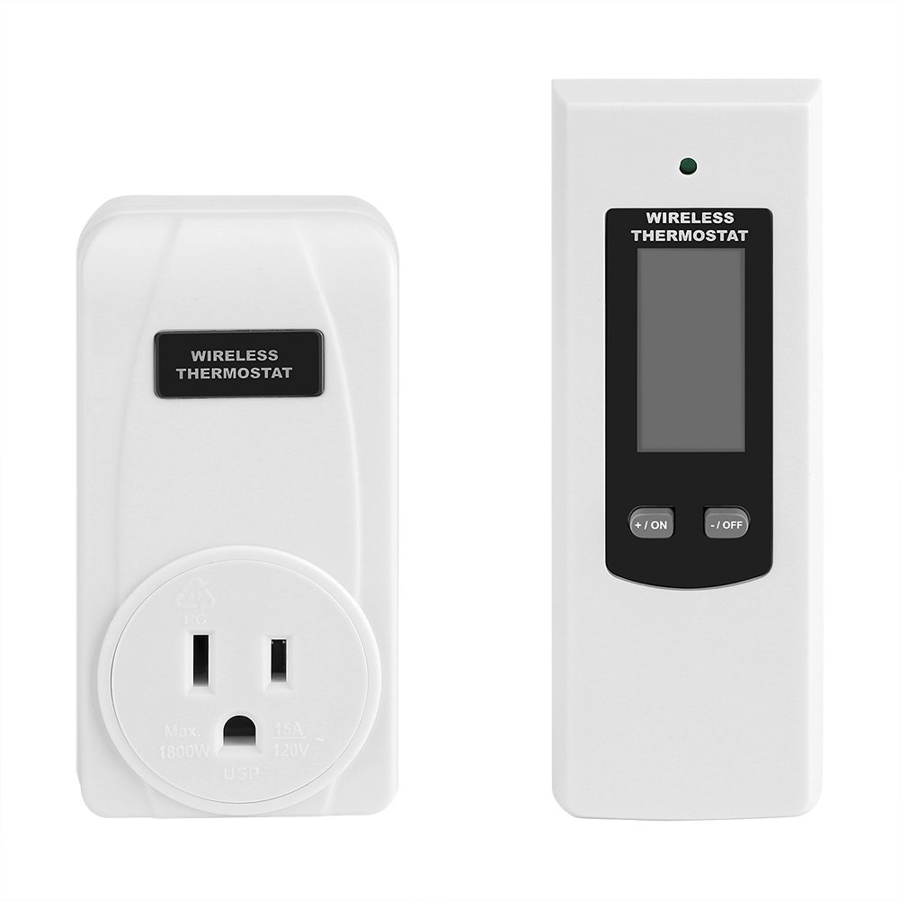 Fdit Wireless Thermostat RF Plug Thermostat Controller Heating & Cooling Temperature Controller Remote Control LCD Display (US Plug)