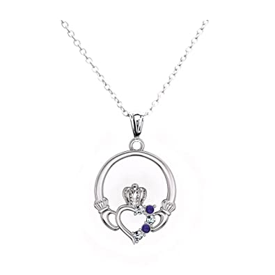 Claddagh Pendant Necklace For Women Birthstone Love Heart Irish Jewellery With Silver Chain r10NXLhMKj