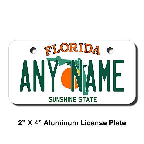TEAMLOGO Personalized Florida License Plate - Sizes for Kid's Bikes, Cars, Trucks, Cart, Key Rings Version 1 (2 x 4 Aluminum License Plate) Custom Aluminum License Plate