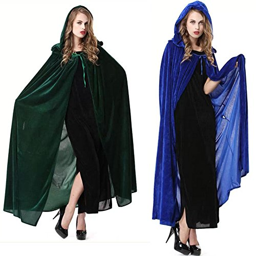 Rulercosplay Halloween Cloak Blue or Green Witch Hoodies Cosplay Costume 59''