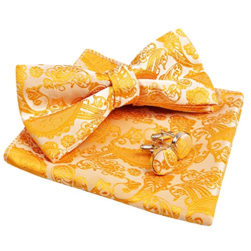 Bow Tie Pocket - Alizeal Mens Paisley Bow Tie, Pocket Square, Cufflinks Set (Gold)