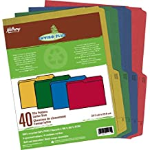 Hilroy 55070 Enviro-Plus Colored Recycled File Folders, Letter Size, 9x11-3/4-Inch, 9.5 Point, Pack of 40, Assorted Colors