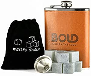 Bold Brands Bundle - Set of 9 Whiskey Stones, 8 oz. Stainless Steel Leather Hip Flask and Funnel Gift Set