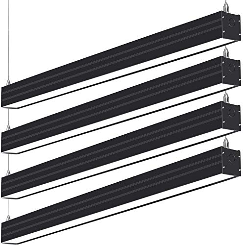Hykolity LED Architectural Suspended Linear Channel Light Linkable, 4FT 40W 3000K/4000K/5000K CCT Selectable, Black Finish Dimmable Office Lighting Fixture for Commercial Places, 4600lm, ETL, 4 ()