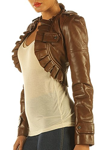 Eimee Women's Leather Waistcoat Steampunk Top Bolero Ruffled (L, Antique Brown) (Top Brown Antique Leather)