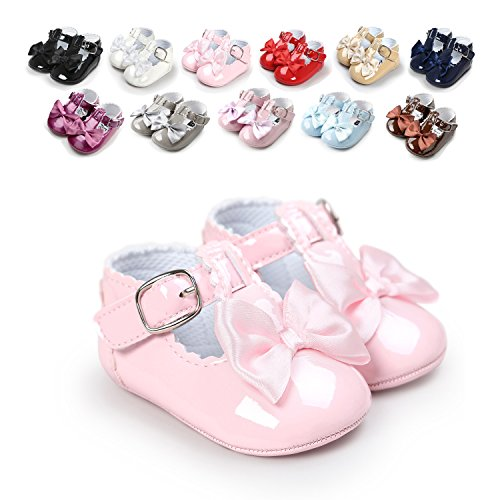 Sabe Infant Baby Girls Soft Sole Prewalker Crib Mary Jane Shoes Princess Light Shoes (12cm(6-12 month), A-pink)