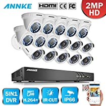 ANNKE 16CH Surveillance Camera System 3MP DVR Recorder and (16) 1920TVL 2.0 MegaPixels Indoor / Outdoor Fixed CCTV Cameras, IP66 Weatherproof Housing-NO HDD