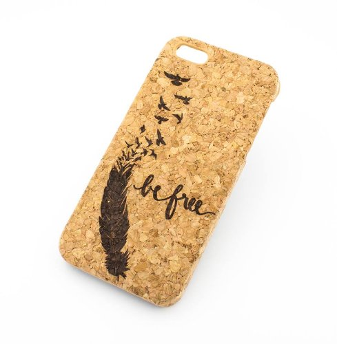 Cork Case Snap On Cover skin for Apple IPHONE 6PLUS (5.5'') - ''Be Free / Sparrow'' bird hummingbird freedom dream big feather quote by Milkyway Body Jewelry
