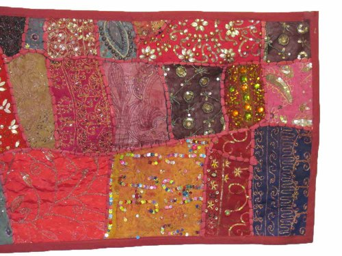 Indian Tapestry Kantha Zari Handmade Vintage Tribal Rajasthani Patchwork Tapestry Table Runner (Red Pink Tones) by Rajasthan Cottage (Image #1)