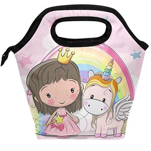 ShineSnow Insulated Lunch Bag Portable Lunch Box Cooler Bag Cute Fairy Tale Princess Unicorn Reusable Cotton Lunch Tote Bento Bag Handbag for Men Women Adult Kids Boys Girls