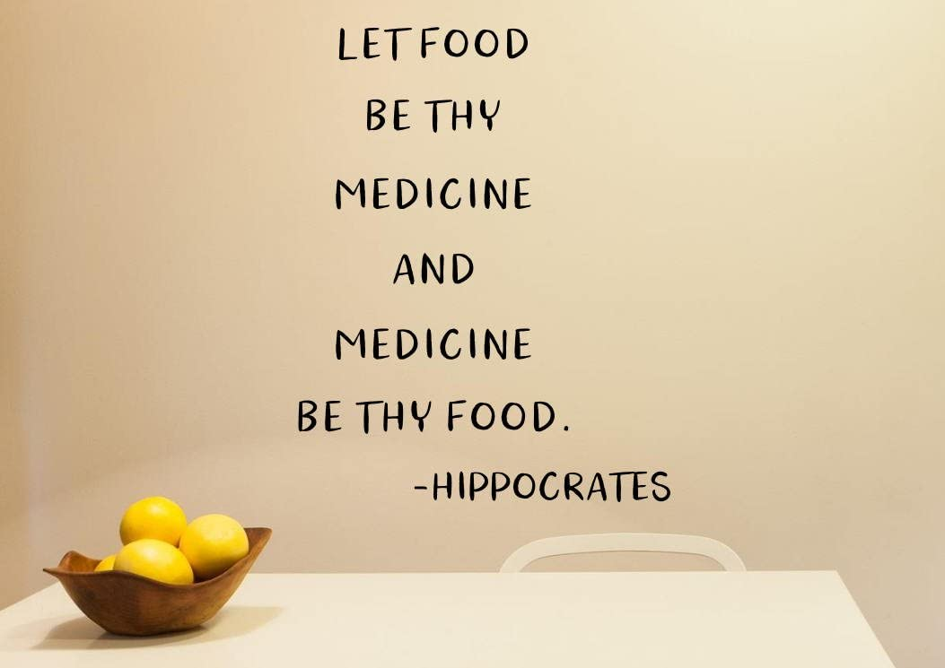 Health Wall Decal Health Art Health and Wellness Nutrition Wall Decor Chiropractic Decal Let Food Be Thy Medicine Nutrition Wall Art 22 Inch Tall