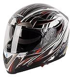 Nitro PSi Sidewinder Full Face Helmet (White/Black/Red, Large)