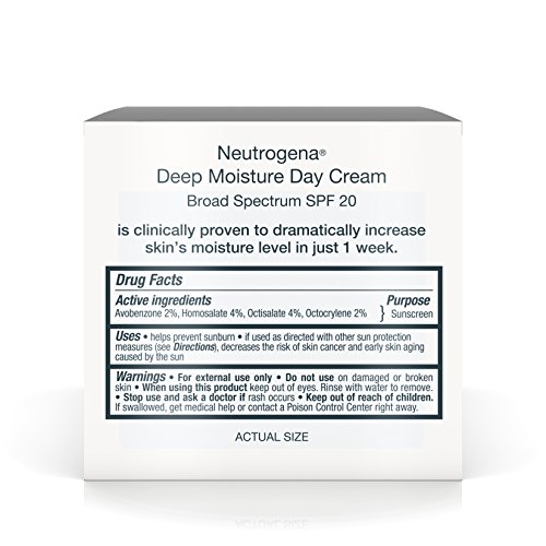 Neutrogena Deep Moisture Face Cream with SPF 20 Sunscreen, Glycerin, Shea Butter & Vitamin D3, Face moisturizer for dry skin - SPF moisturizer, Glycerin, Shea Butter, Vitamin D3, 2.25 oz