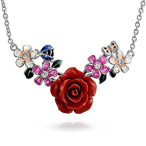 Ladybug Enamel Links (Bling Jewellry Red Resin Rose CZ Enamel Ladybug Station Necklace 925 Silver For Women)