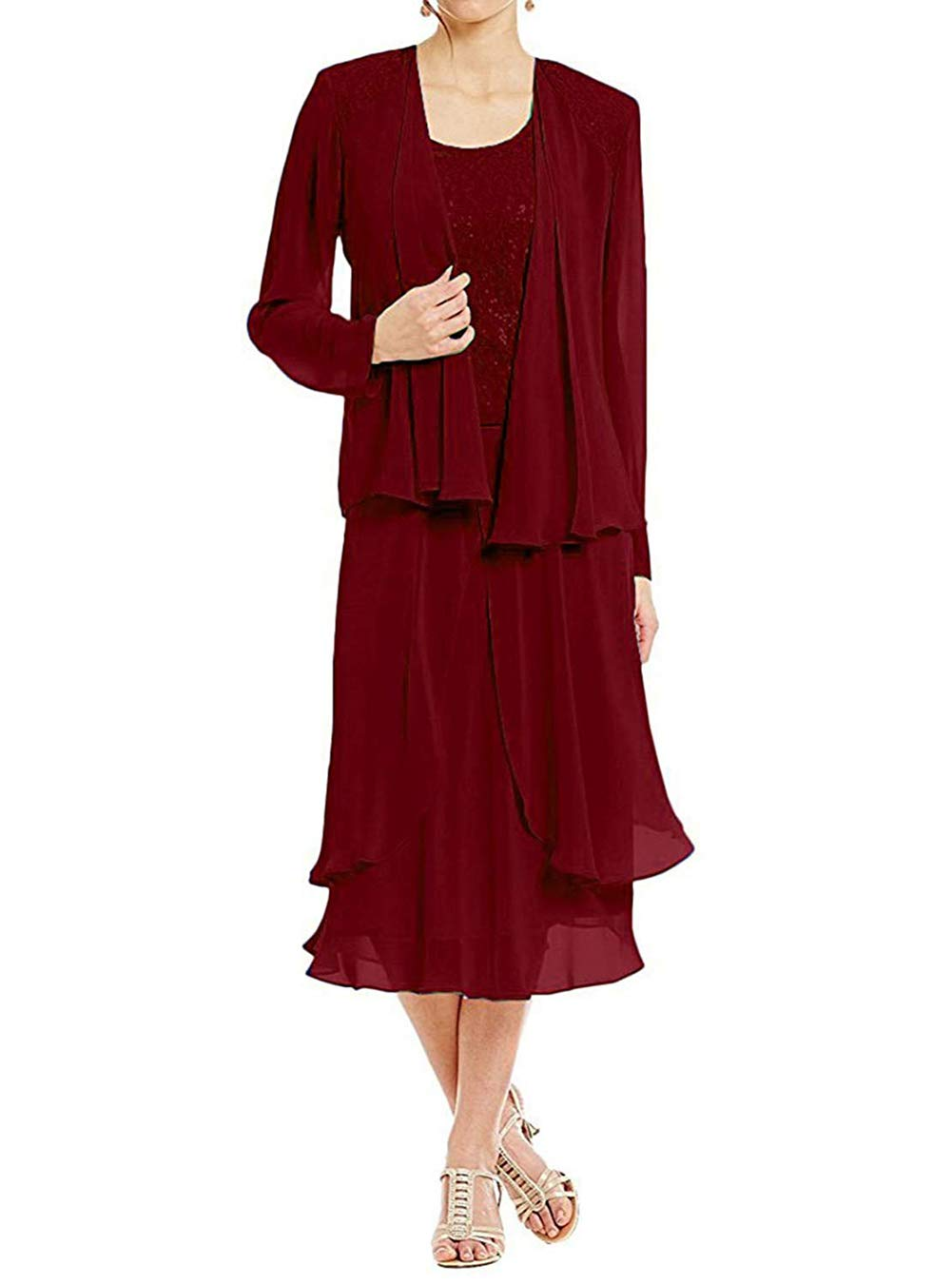 24aa457f1 UGLY 3 Pieces Mother Suit Pants Long Sleeves Mother The Bride Dresses  Chiffon Jacket UG086 Burgundy Size 16