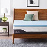 Single Bed Memory Foam Topper LUCID 2 Inch Gel Infused Memory Foam Mattress Topper - Twin