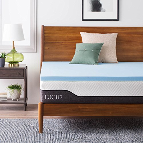 LUCID 2 Inch Gel Infused Memory Foam Mattress Topper - Twin (Loft Memory Foam Bed Topper)
