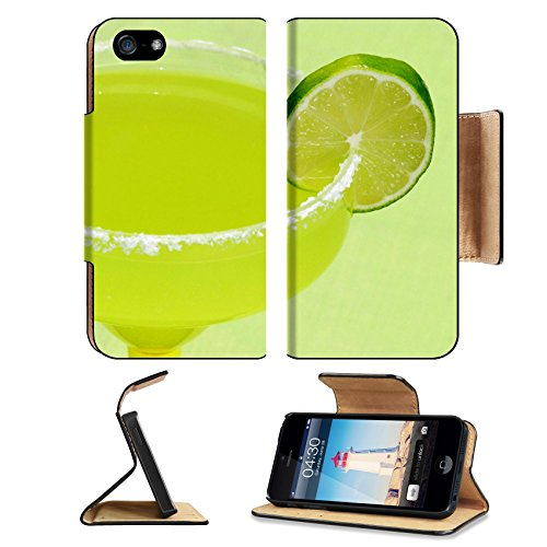 Liili Premium Apple iPhone 5 iphone 5S Flip Pu Leather Wallet Case A margarita with a lime against a green background iPhone5 Photo 205751 Simple Snap Carrying