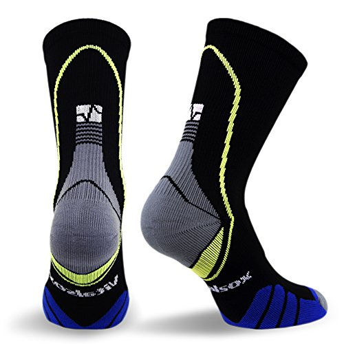 Vitalsox Performance Crew Socks, Black, Large