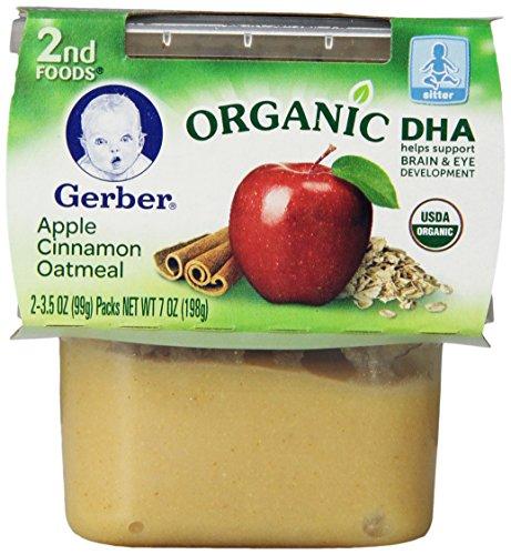 Gerber Органическая 2 Продукты, Apple Cinnamon Овсянка, 2 граф, 3,5 унции (в упаковке 8)