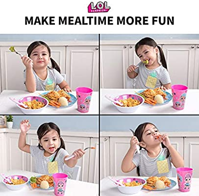CHILDRENS TODDLER LOL SURPRISE 3 PC DINNER BREAKFAST SET PLATE BOWL CUP HANDLE