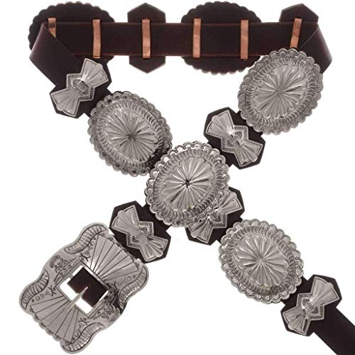 Hammered Silver Concho Belt Native American Made 3391