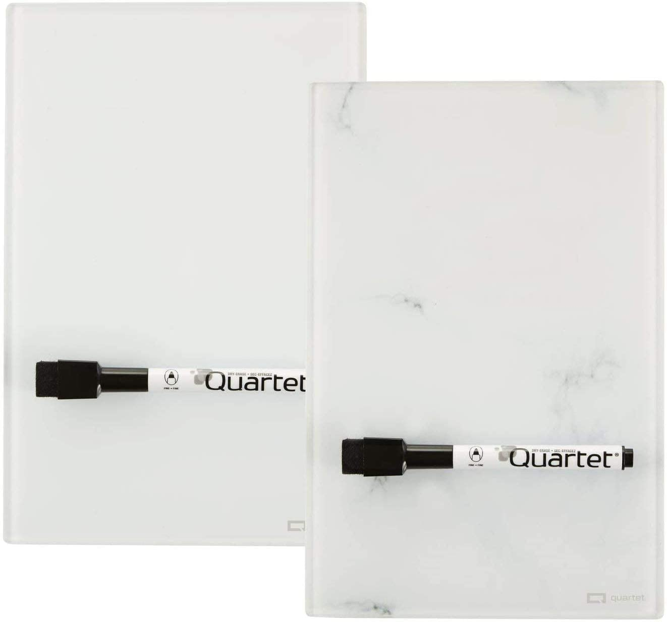 "Quartet Glass Desktop Notepad, 9' x 6"", Whiteboard, Dry Erase Surface, Marble/White,2 Pack (GDP96)"