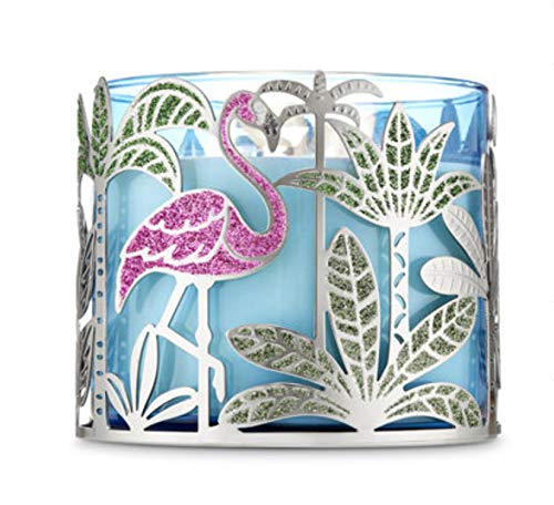 - Bath and Body Works 3 Wick Candle Holder w Lots of Bling, Pink Glittery Flamingos and Green Glittery Leaves on Plants and Trees