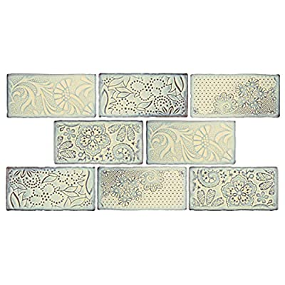 "SomerTile WCVAFP Antigue Feelings Pergamon Ceramic Wall Tile, 3"" x 6"", Blue/Beige/Brown"