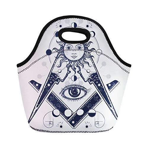 (Semtomn Lunch Tote Bag Masonic Symbol Tattoo and All Seeing Eye Alchemy Medieval Reusable Neoprene Insulated Thermal Outdoor Picnic Lunchbox for Men Women)