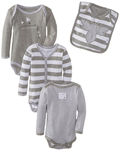 Burt's Bees Baby Boys Organic Set of  3 Bodysuits and Bib, Heather Grey, 6-9 Months