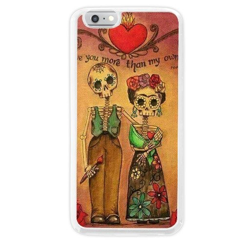 StepHen Customized Frida Kahlo Sugar Skull I love you more than my own skin flexible plastic White Case (iPhone 6 Plus,iPhone 6s Plus)