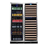 KingsBottle 3-Zone Wine and Beverage Combo Refrigerator, Holds 450 Cans and 164 Bottles, Stainless Steel with Glass Door