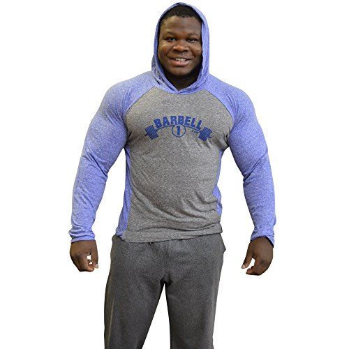 Barbell 1 V-Taper Muscle Hoodie, Soft Triblend Raglan - Look More Muscular (XS, Light Heather Grey/Light Blue)