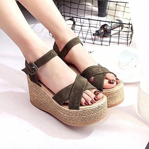 Fin de las sandalias de las sandalias de cuña femenina de cáñamo de Bohemia zapatos de tacón alto romanos fue la marea delgada army green