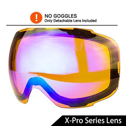 WACOOL Multicolor Professional Ski Goggles (X-Pro Series Magnetic Replacement Lens Orange VLT (Pro Replacement Lenses)