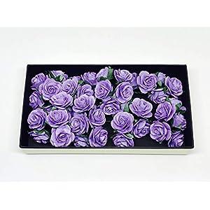 "1"" Purple Paper Flowers Paper Rose Artificial Flowers Fake Flowers Artificial Roses Paper Craft Flowers Paper Rose Flower Mulberry Paper Flowers, 20 Pieces 4"