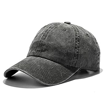 Vankerful Unisex Vintage Washed Dyed Dad Hat Plain Cotton Twill Low Profile Adjustable Solid Colour Baseball Cap Strapback (Army Green)