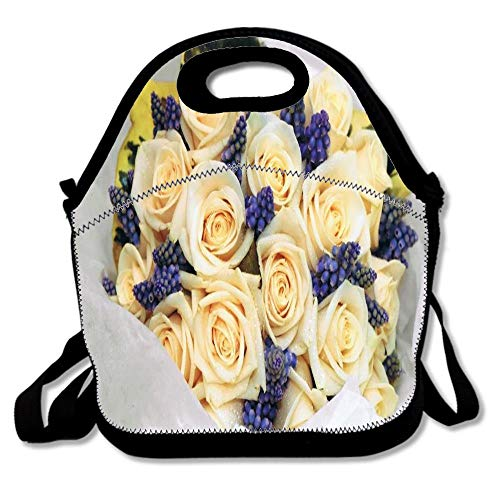 Hyacinth Rose Bouquet - Bouquet Of Roses Grape Hyacinth Lunch Bags,Insulated Lunch Bag Reusable Insulated School Picnic Carrying Lunchbox Outdoor,Neoprene Lunch Tote Boxes for Women,Girls,Kids
