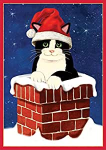 Entertaining with Caspari Cat in Chimney Christmas Cards (Box of 16)