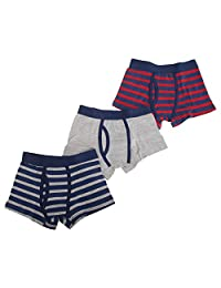 Childrens Boys Striped Cotton Rich Trunks/Boxer Shorts Underwear (Pack Of 3)