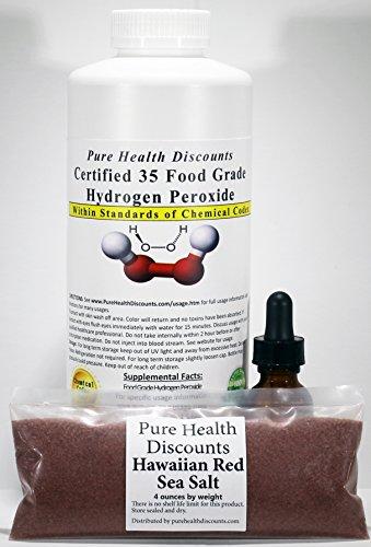 I Quart certified 35% Food Grade Hydrogen Peroxide (32 ounces - double for less) +FREE dropper bottle + FREE 4 ounces Red Hawaiian Sea Salt;Shipped (Sea Salt 32 Oz Bottle)