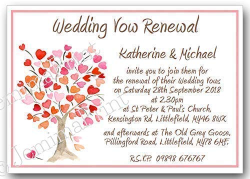10 Personalised Wedding Vow Renewal Invitations with envelopes J163