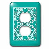 3dRose Russ Billington Designs - Hearts and Flowers Tile Design in Teal and White - Light Switch Covers - 2 plug outlet cover (lsp_262262_6)
