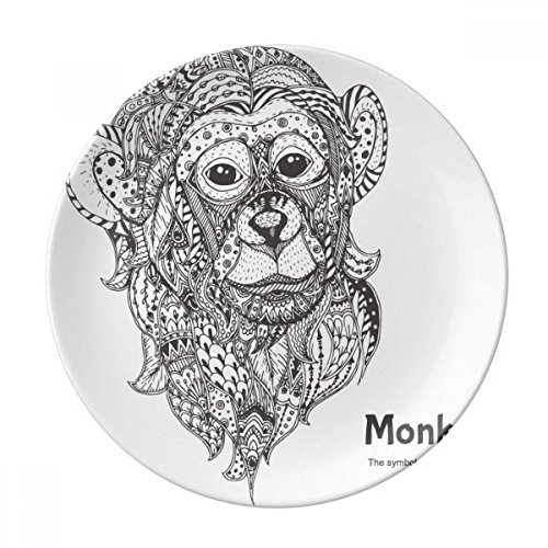 Animal Big Mouth Picture Monkey Dessert Plate Decorative Porcelain 8 inch Dinner Home by DIYthinker