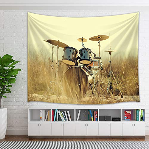 (KOTOM Western Country Music Tapestry, Musical Instruments Grunge Drum in Field Tapestry Wall Hanging Wall Art for Bedroom Living Room Collage Dorm Home Decor Bedspread, 60