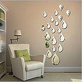 JUMUU Modern Stylish Fashion Art Design Removable DIY Acrylic 3D Mirror Wall Decal Wall Sticker for Bathroom Sitting Room Home Decoration (Water Drop Raindrop, Silvery)