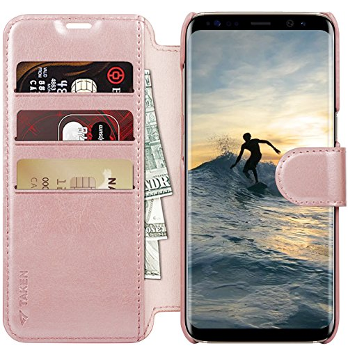 Galaxy S8 Plus Case, Samsung Galaxy S8 Plus Leather Wallet Flip Cases,Samsung Galaxy 8 Plus Vintage Holster, TAKEN PU Shell with Card Slot, Gift for Lady, Men, Women, Boys, Girls, 2017, (Rosegold)