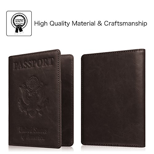 Fintie Passport Holder Travel Wallet - Premium Vegan Leather RFID Blocking Case Cover - Securely Holds Passport, Business Cards, Credit Cards, Boarding Passes, USA-Brown Photo #5