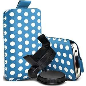 Samsung Galaxy S3 i9300 Protección Premium Polka PU ficha de extracción Slip Cord En cubierta de bolsa Pocket Skin rápida con el sostenedor 360 giratorio del parabrisas del coche cuna de bebé azul y blanco por Spyrox